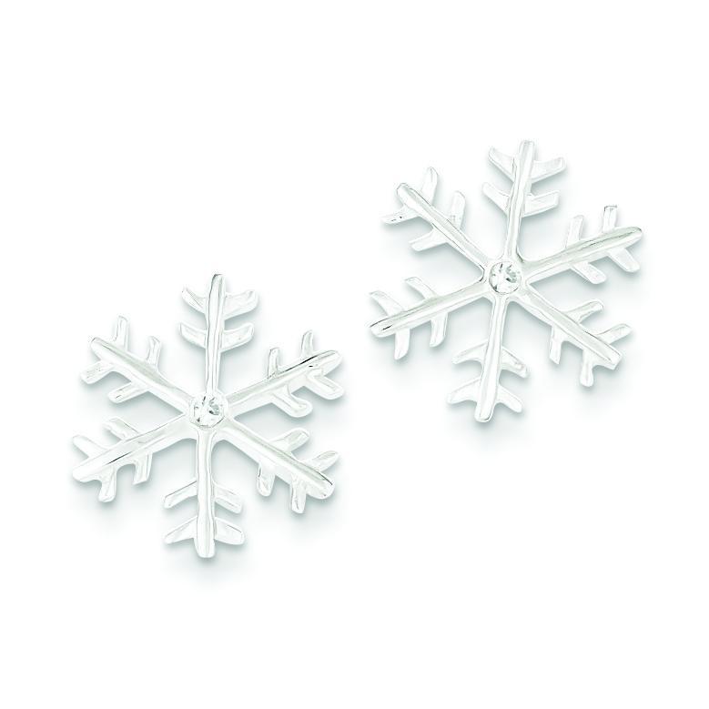 CZ Snowflake Post Earrings in Sterling Silver