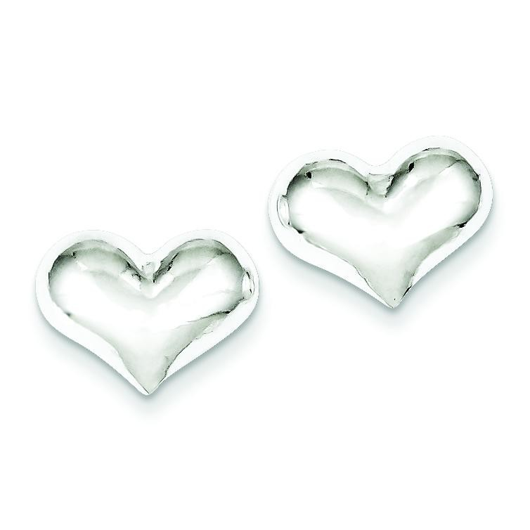 Puff Heart Post Earrings in Sterling Silver
