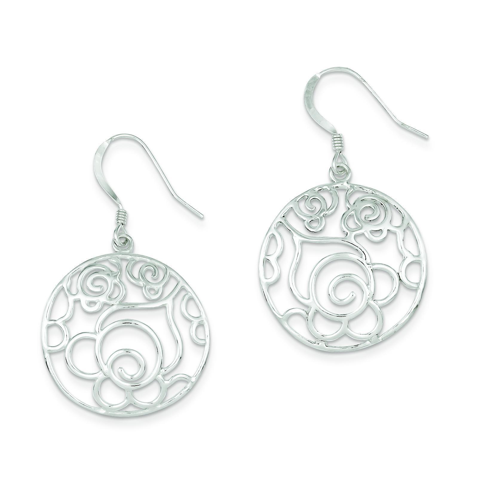 Round Fancy Dangle Earrings in Sterling Silver