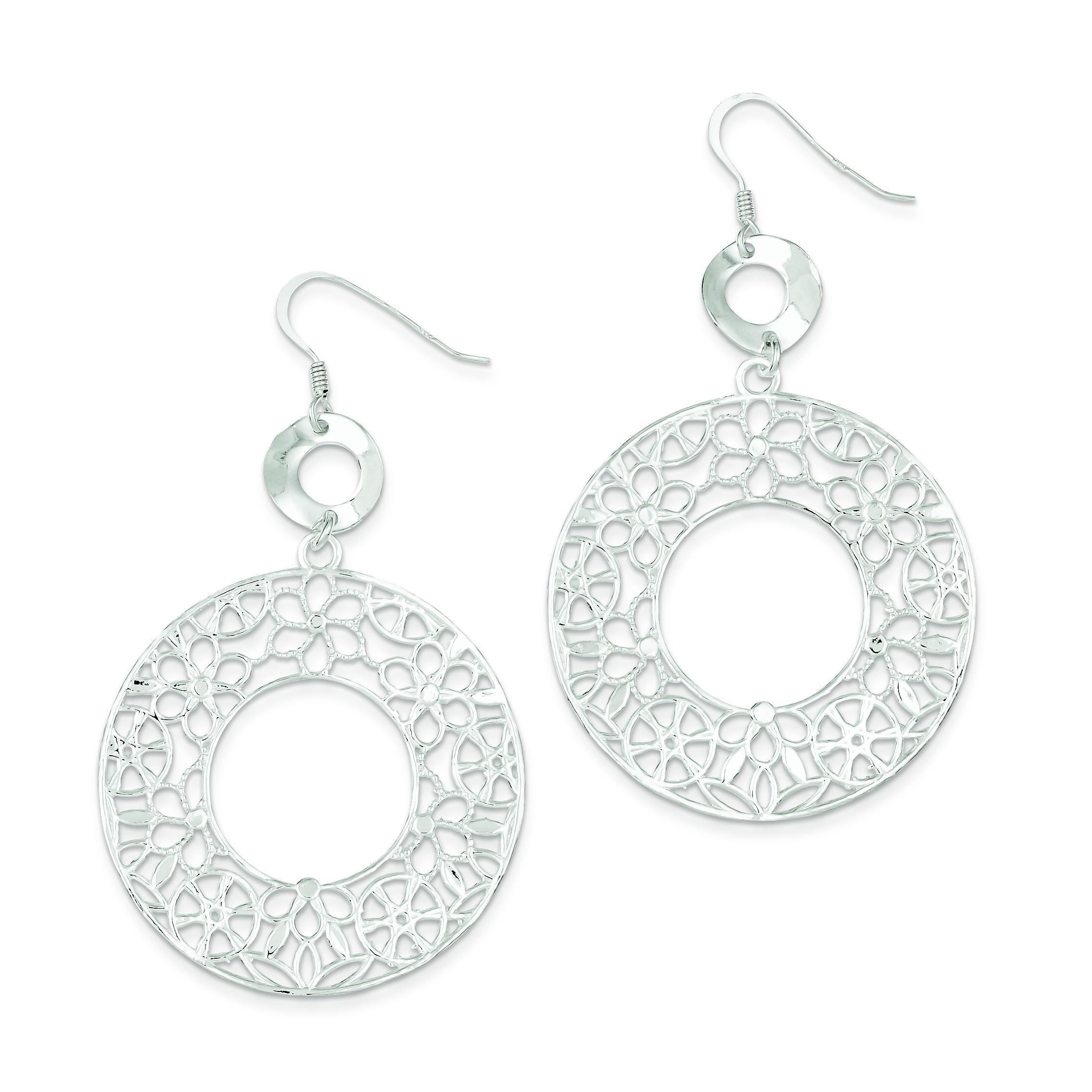 Fancy Circle Dangle Earrings in Sterling Silver