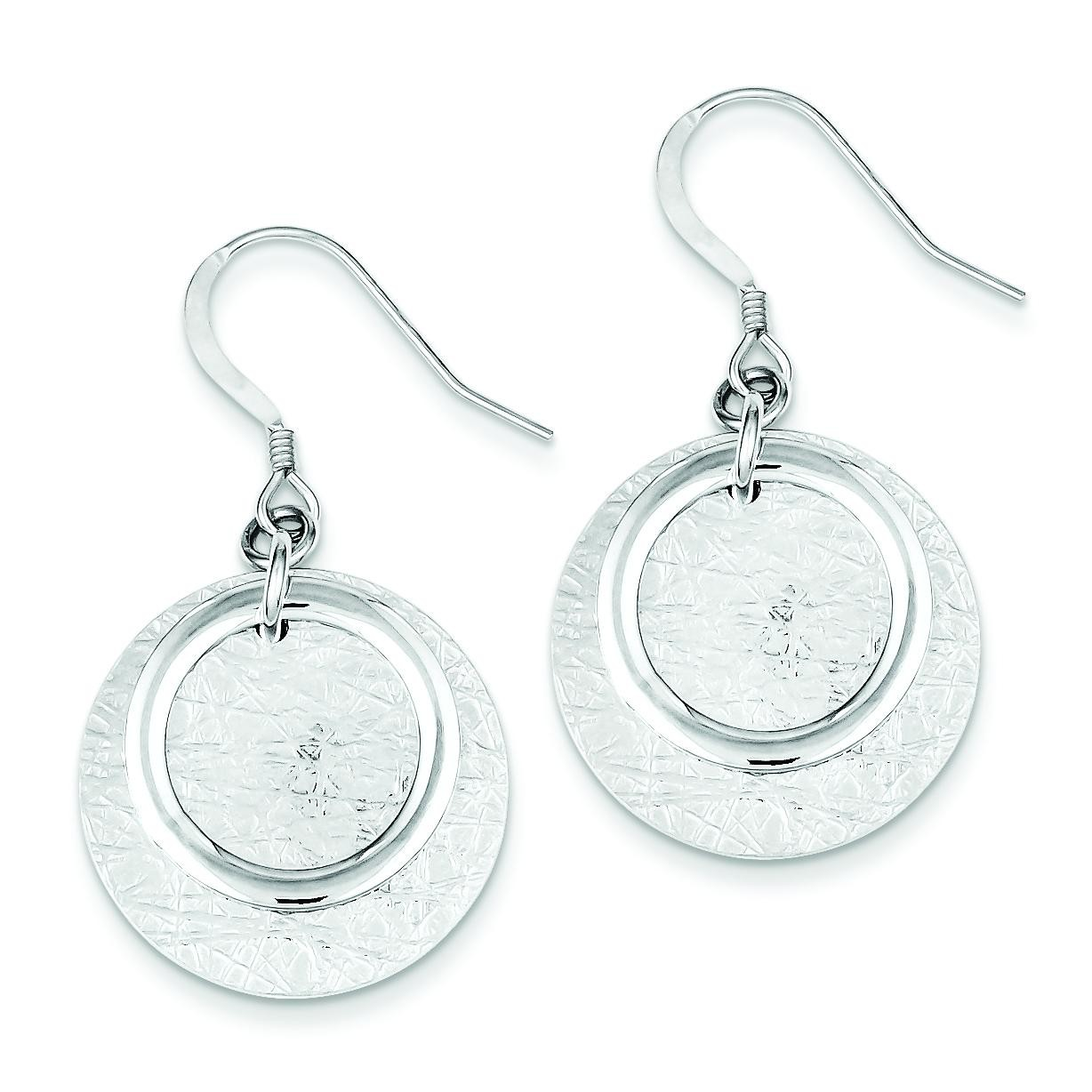 Textured Fancy Circle Dangle Earrings in Sterling Silver