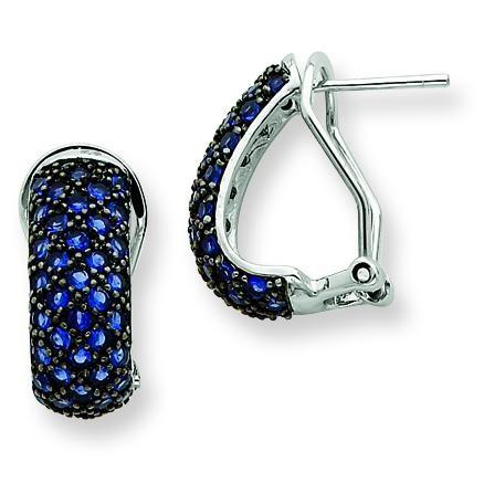Blue CZ Omega Back Earrings in Sterling Silver