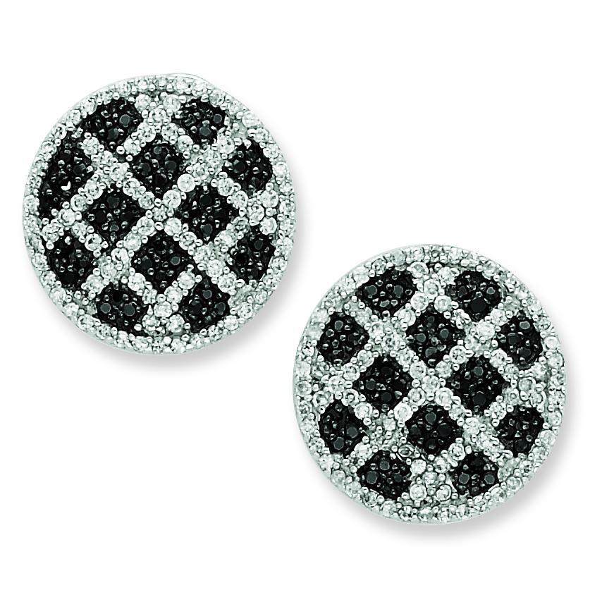 Black White CZ Round Omega Back Earrings in Sterling Silver