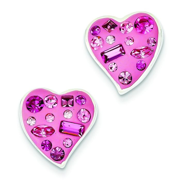 Pink Crystal Enameled Heart Post Earrings in Sterling Silver