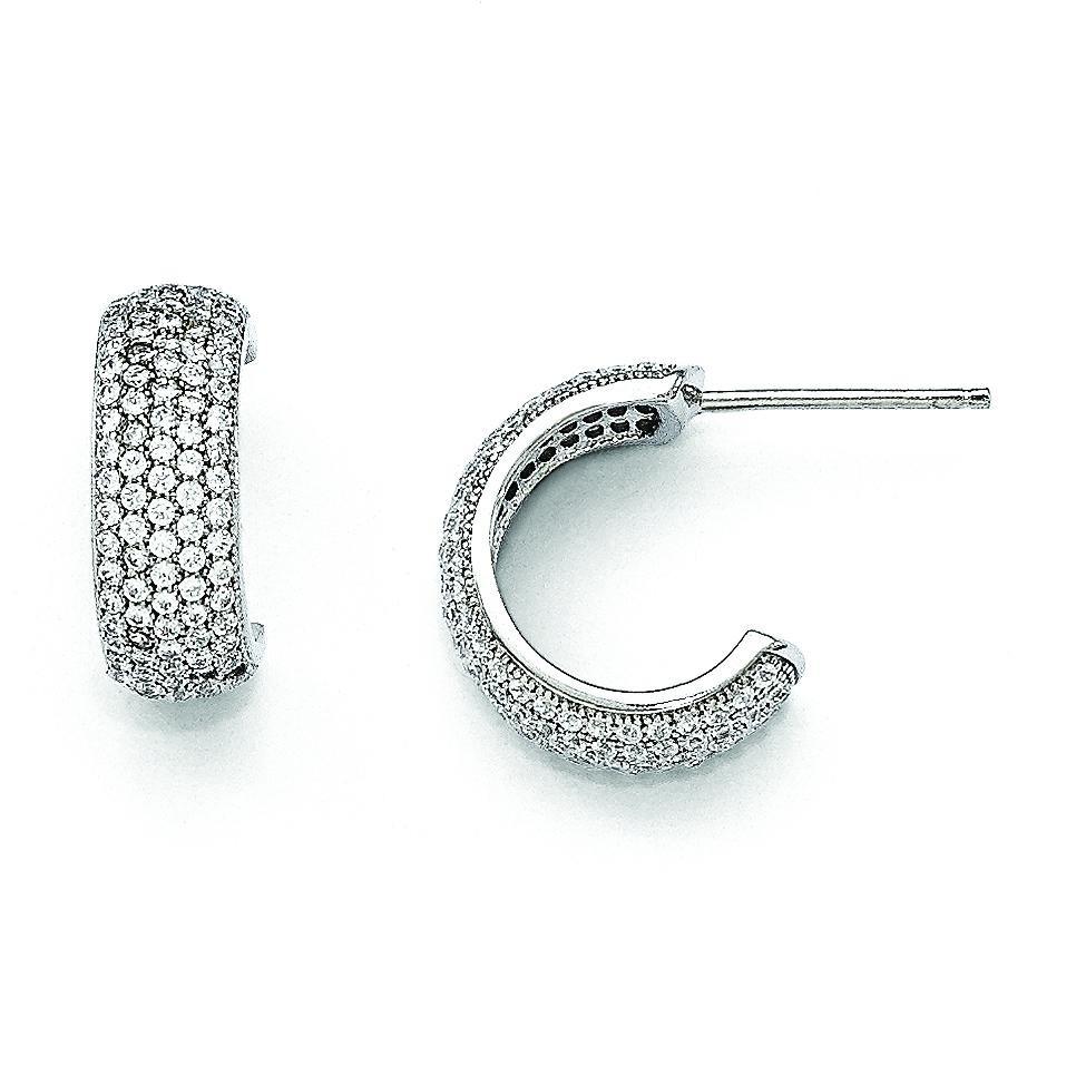 CZ Huggy Earrings in Sterling Silver