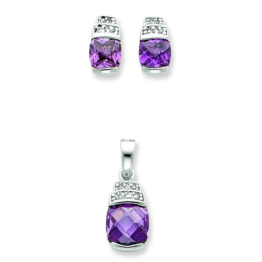 Purple Clear CZ Pendant Earrings Set in Sterling Silver