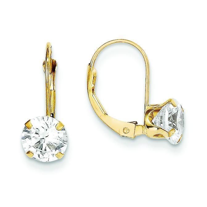 CZ Leverback Earrings in 14k Yellow Gold