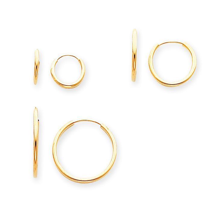 Pair Set Endless Hoop Earrings in 14k Yellow Gold