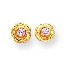 Pink CZ On Flower Screw back Earrings in 14k Yellow Gold
