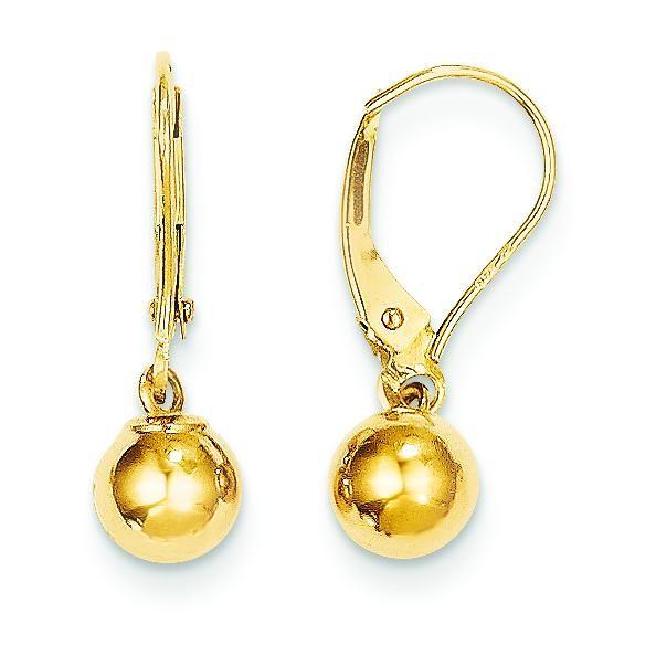 Dangle Bead Earrings in 14k Yellow Gold