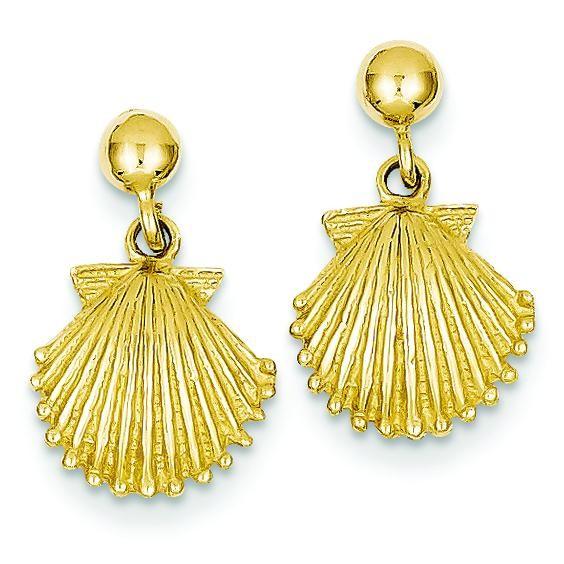 Scallop Shell Dangle Post Earrings in 14k Yellow Gold
