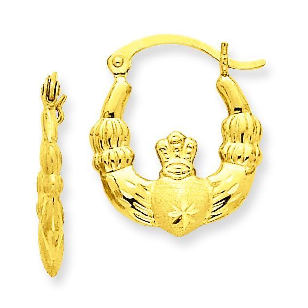 Satin Claddagh Hoop Earrings in 14k Yellow Gold
