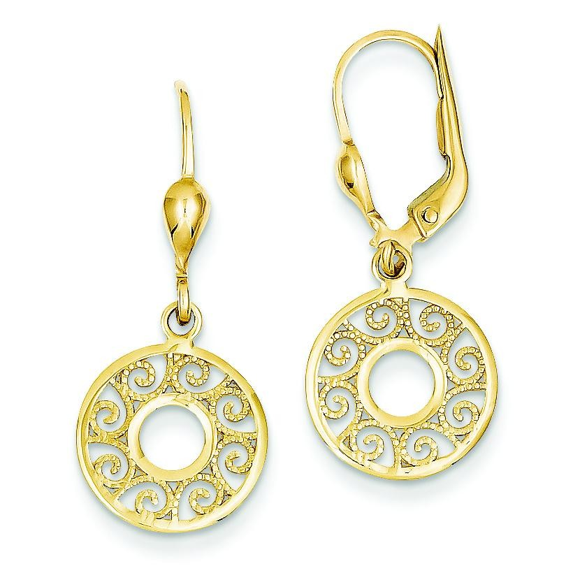 Leverback Filigree Earrings in 14k Yellow Gold