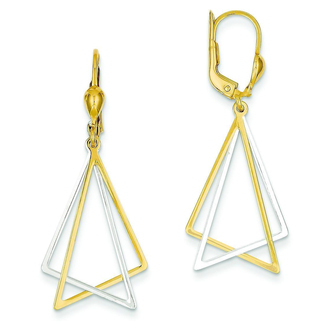 Leverback Drop Earrings in 14k Two-tone Gold