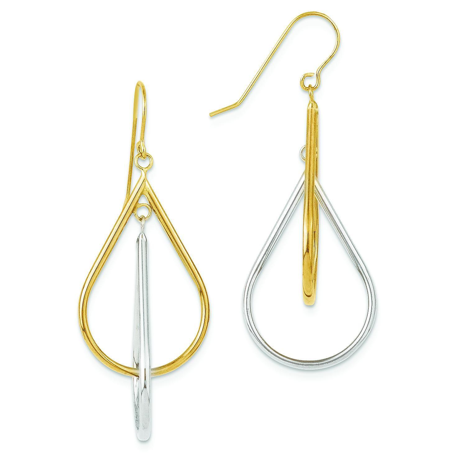 Tear Drop Tube Leverback Earrings in 14k Two-tone Gold