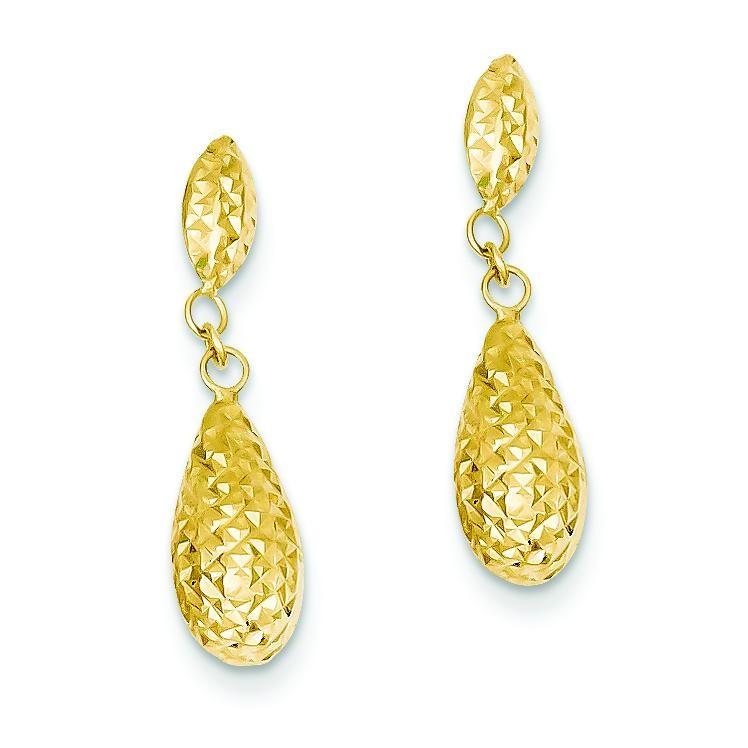 Diamond Cut Puff Teardrop Dangle Earrings in 14k Yellow Gold