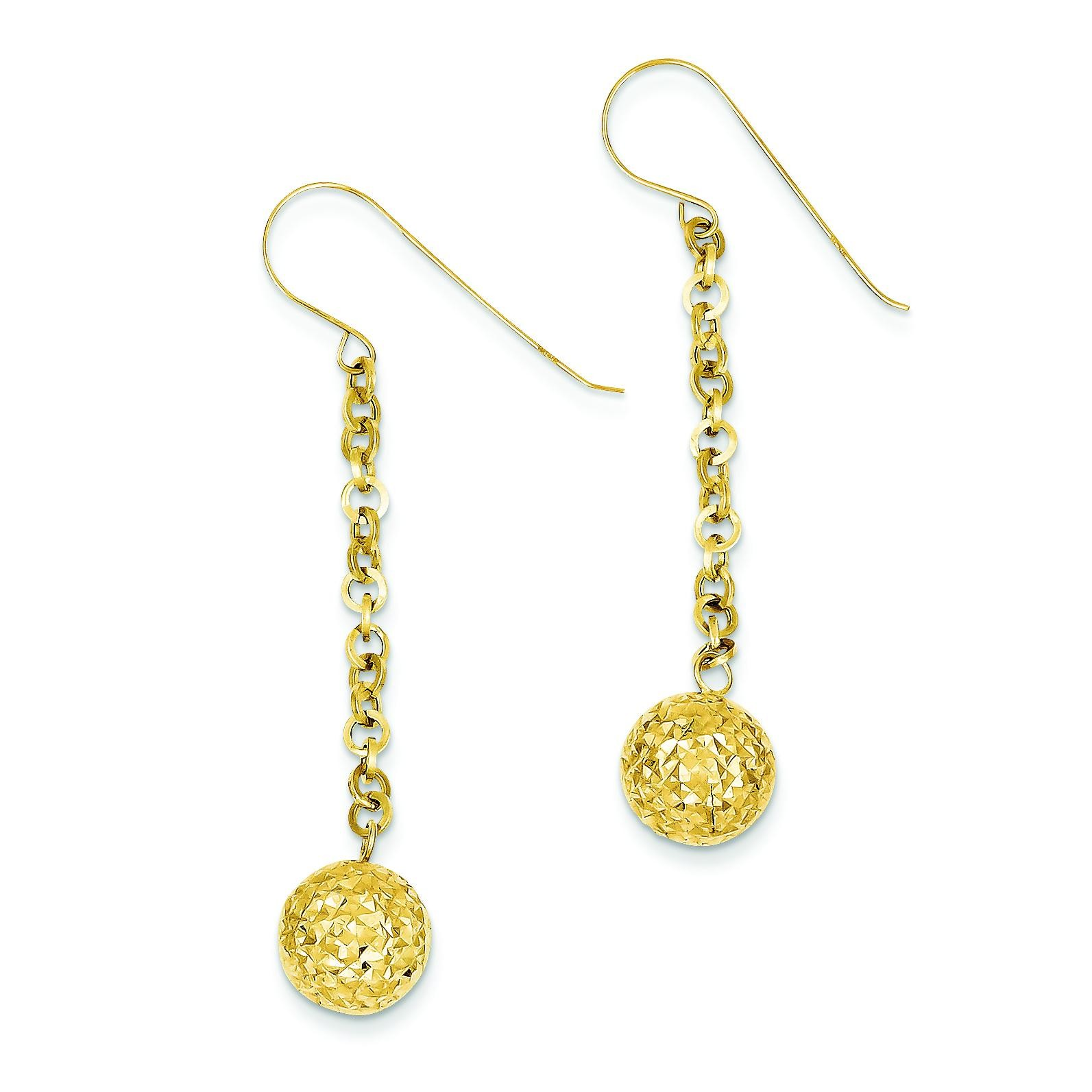 Diamond Cut Hollow Bead Dangle Earrings in 14k Yellow Gold