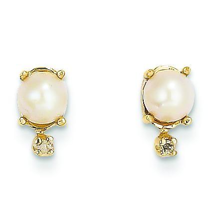 Diamond Cultured Pearl Birthstone Earrings in 14k Yellow Gold (0.018 Ct. tw.)