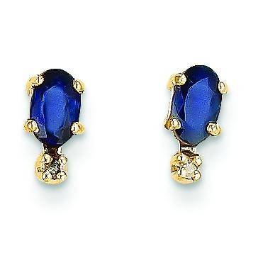 Diamond Sapphire Birthstone Earrings in 14k Yellow Gold (0.018 Ct. tw.)