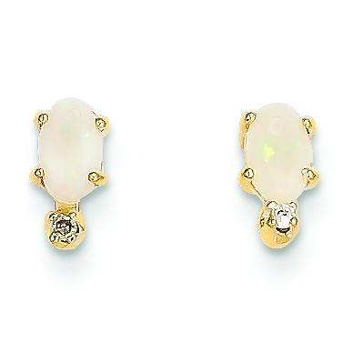 Diamond Opal Birthstone Earrings in 14k Yellow Gold (0.018 Ct. tw.)