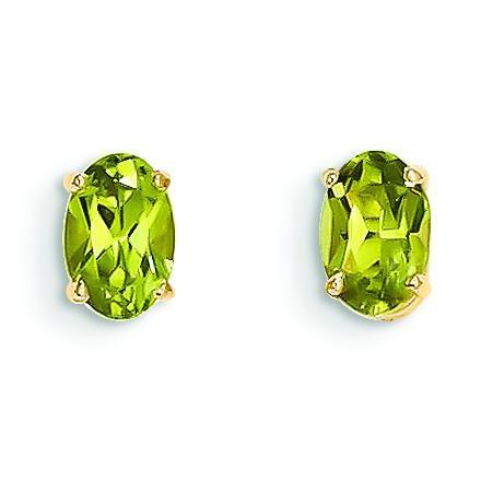 Peridot Post Earrings in 14k Yellow Gold