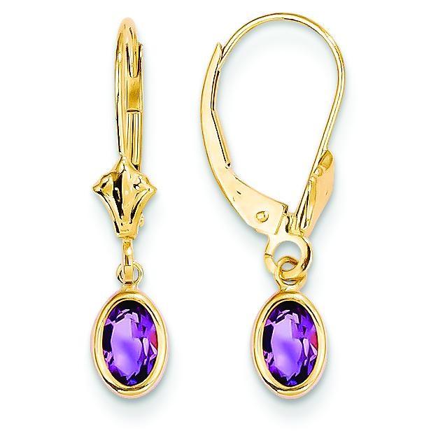 Amethyst Earrings in 14k Yellow Gold
