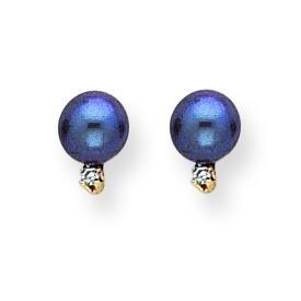 Black Pearl Diamond Earrings in 14k Yellow Gold (0.036 Ct. tw.)