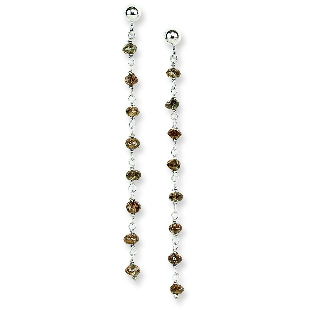 Chocolate Diamond Briolette Earrings in 14k White Gold (1.25 Ct. tw.) (1.25 Ct. tw.)