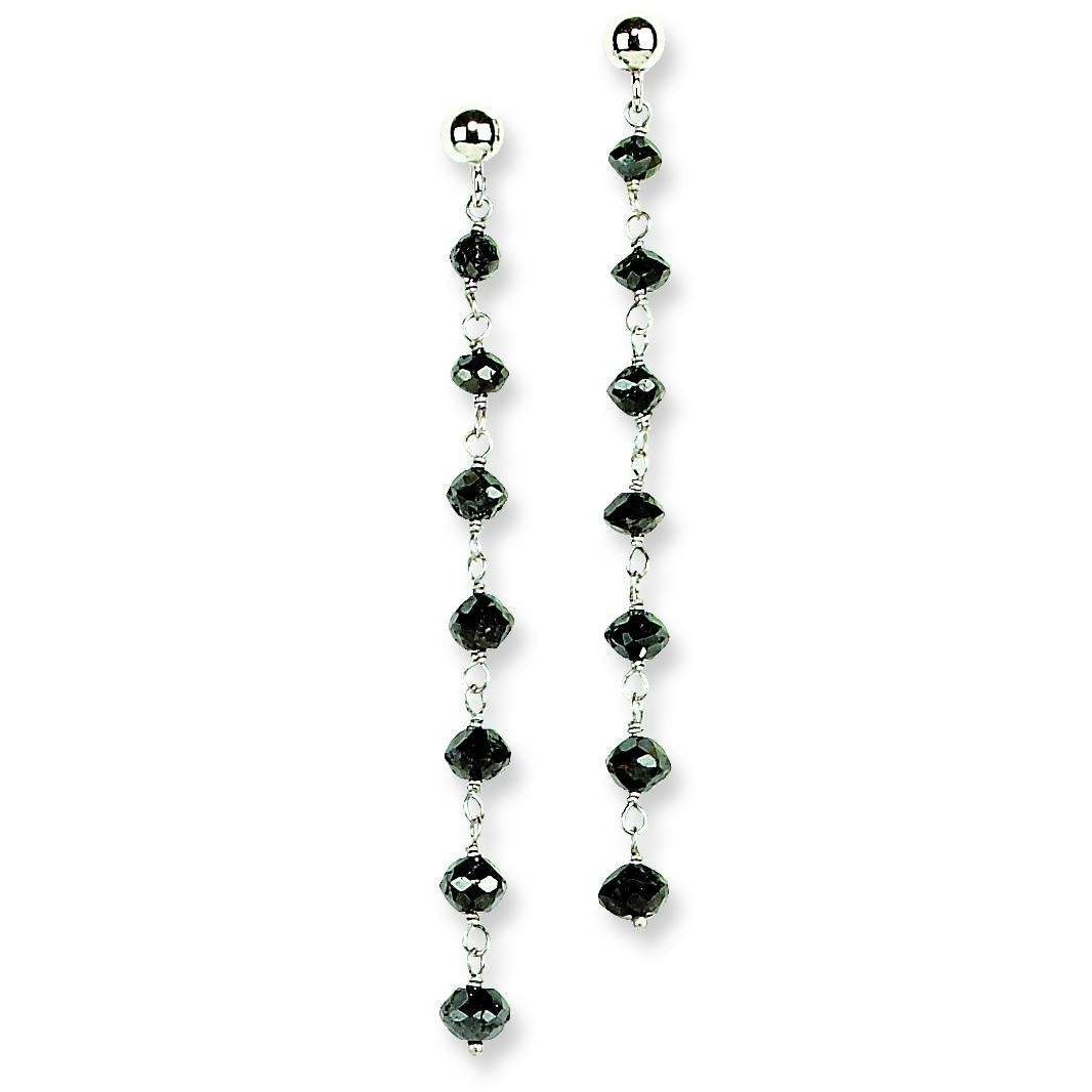 Black Diamond Briolette Earrings in 14k White Gold (2.4 Ct. tw.) (2.4 Ct. tw.)