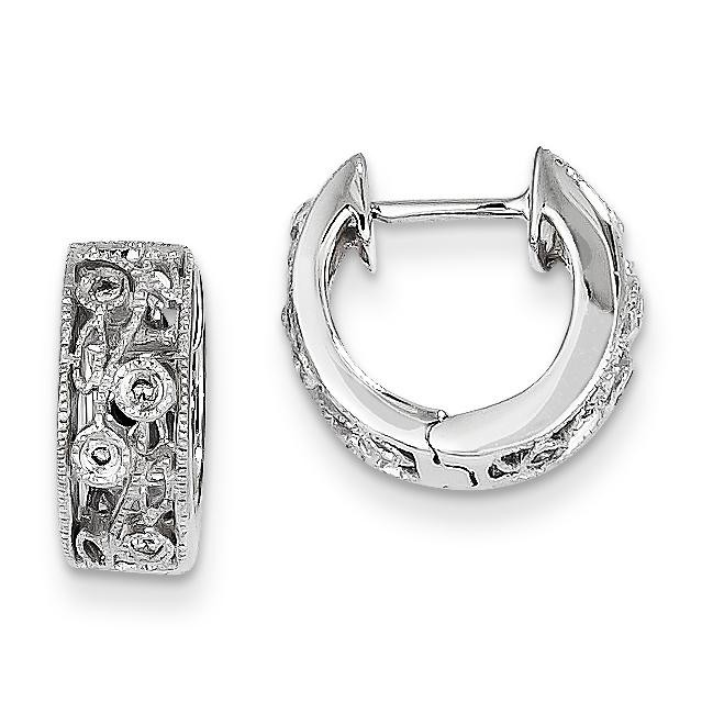 Diamond Floral Design Hoop Earrings in 14k White Gold (0.09 Ct. tw.) (0.09 Ct. tw.)