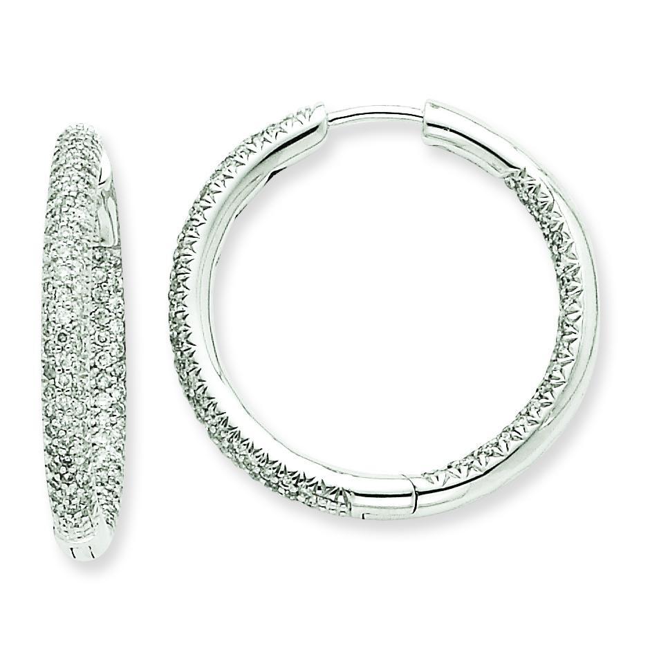 Ctw Circle Hoop Diamond Earrings in 14k White Gold