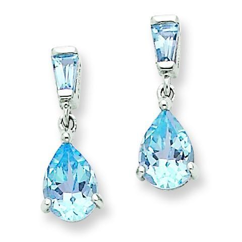 Blue Topaz Dangle Post Earrings in 14k White Gold