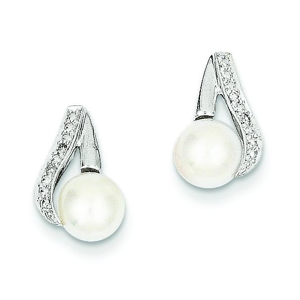 Cultured Pearl Diamond Earrings in 14k White Gold (0.02 Ct. tw.)