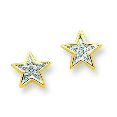 Diamond Star Post Earrings in 14k Yellow Gold