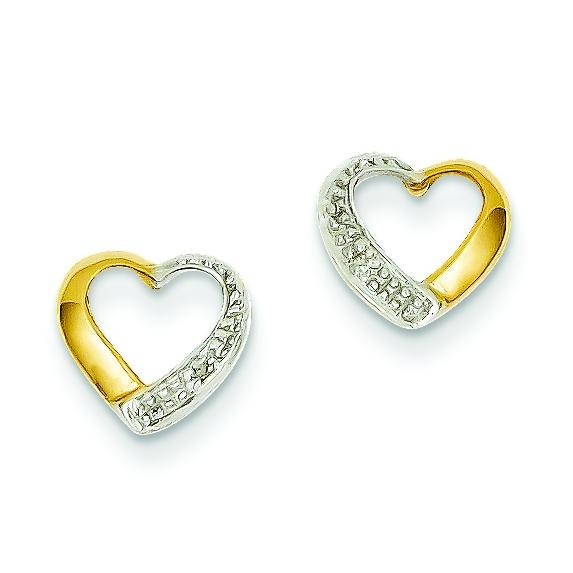 Rhodium Marquise Diamond Heart Post Earrings in 14k Yellow Gold