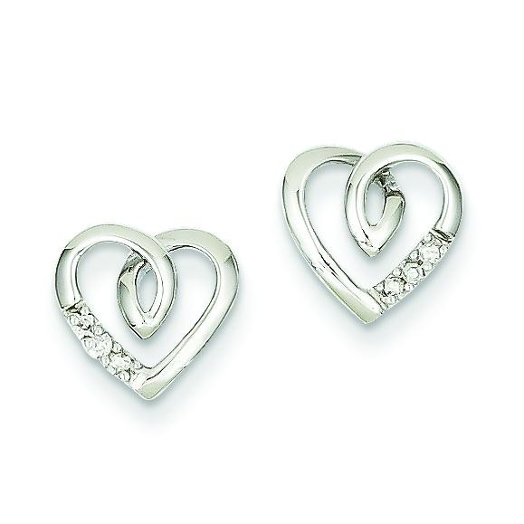 Heart Post Earrings in 14k White Gold