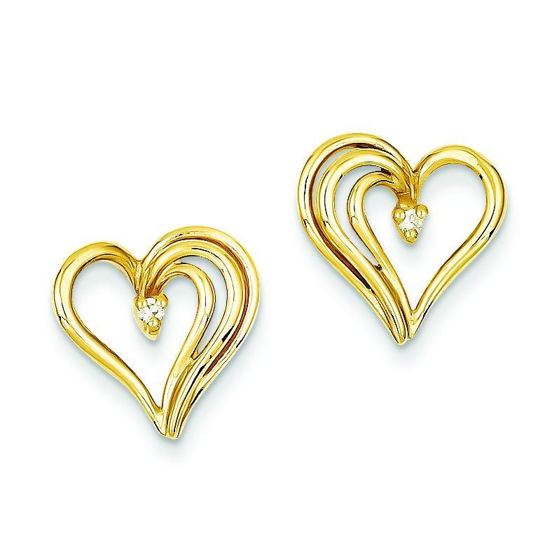Diamond Heart Earring in 14k Yellow Gold
