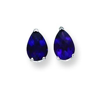 Pear Amethyst Checker Earring in 14k White Gold