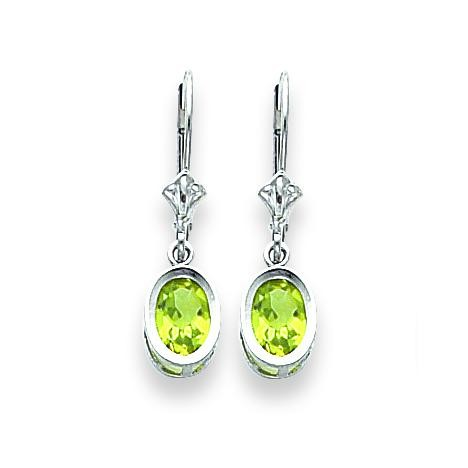 Oval Peridot Leverback Earring in 14k White Gold