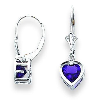 Heart Amethyst Earrings in 14k White Gold