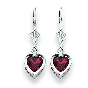 Heart Garnet Earrings in 14k White Gold