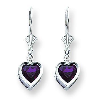 Rhodalite Garnet Diamond Heart Leverback Earring in 14k White Gold