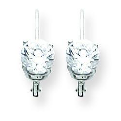 Cubic Zirconia Leverback Earrings in 14k White Gold