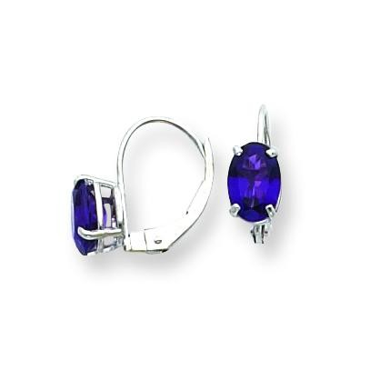 Oval Amethyst Leverback Earring in 14k White Gold