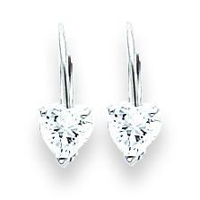 Heart Cubic Zirconia Earring in 14k White Gold