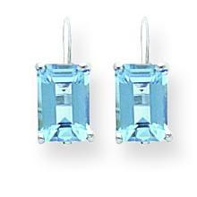 Emerald Cut Blue Topaz Earrings in 14k White Gold