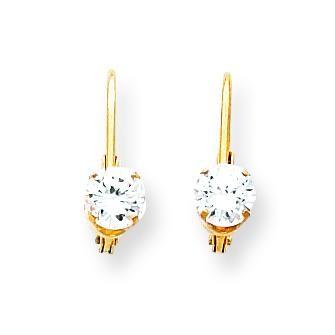 Cubic Zirconia Leverback Earrings in 14k Yellow Gold