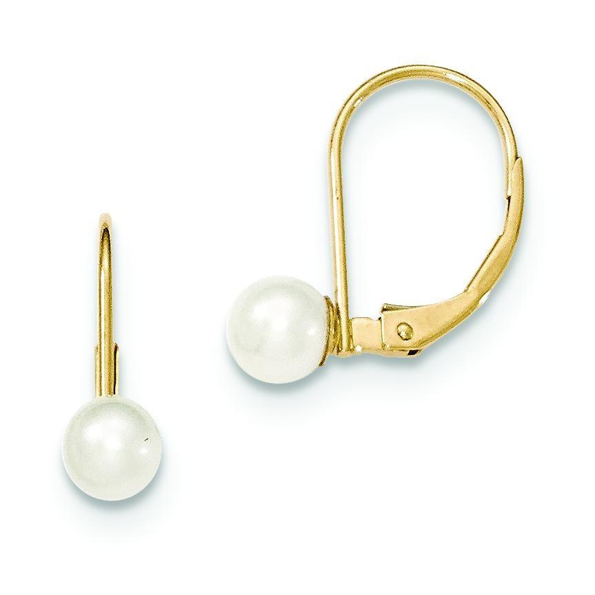 Pearl Leverback Earrings in 14k Yellow Gold