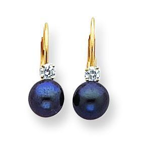 Black Pearl Diamond Leverback Earrings in 14k Yellow Gold (0.118 Ct. tw.)