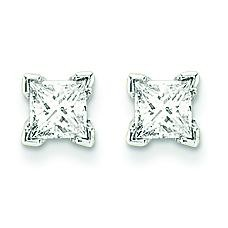 Quality Complete Princess Cut Diamond Earrings in 14k White Gold (0.34 Ct. tw.)